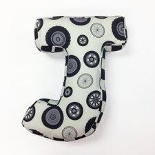 """Teyo's Tires Letter Pillow """"J"""""""