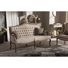 Oliver Weathered Oak Wood Button-tufted Upholstered Sofa