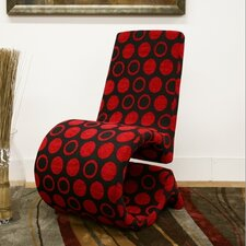Baxton Studio Forte Red and Black Patterned Accent Chair