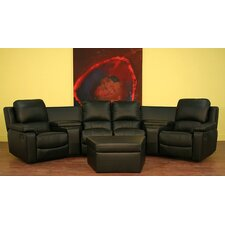 Arviragus Leather Curved 7-piece Home Theater Sectional