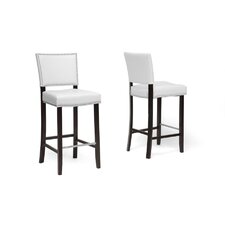 "Baxton Studio Aries Bar 30.5"" Stool with Cushion (Set of 2)"