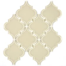 "Water Jet 3.9"" x 4.7"" Glass Mosaic Tile in Cream"