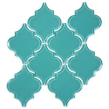 "Water Jet 3.9"" x 4.7"" Glass Mosaic Tile in Teal"