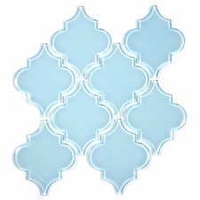 "Water Jet 3.9"" x 4.7"" Glass Mosaic Tile in Bany Blue"