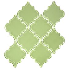 "Water Jet 3.9"" x 4.7"" Glass Mosaic Tile in Light Olive"