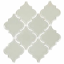 "Water Jet 3.9"" x 4.7"" Glass Mosaic Tile in Light Gray"
