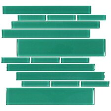 Club Random Sized Glass Mosaic Tile in Emerald Green