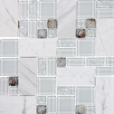 Venetian Random Sized Glass and Stone Mosaic Tile in White and White Marble