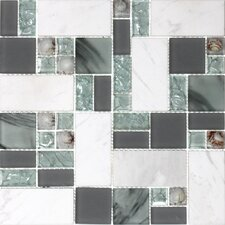 Venetian Random Sized Glass and Stone Mosaic Tile in 3 Color Blend