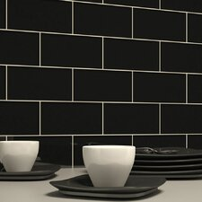 "3"" x 6"" Glass Subway Tile in Black"