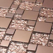 Venetian Random Sized Glass and Aluminum Tile in Copper Goddess