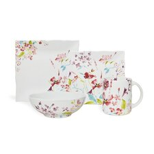 Garden Beauty White 16 Piece Dinnerware Set