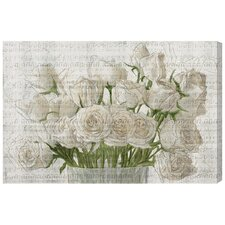 White Rose Love Painting Print on Canvas
