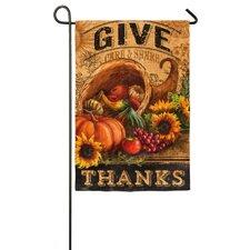 Give Thanks Cornucopia Garden Flag