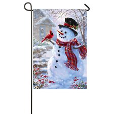 Snowman and Feathered Friend Garden Flag