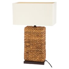 """Alice Rattan 13.5"""" H Table Lamp with Rectangular Shade"""