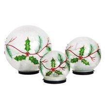 3-Piece Holly Snowglobe Set