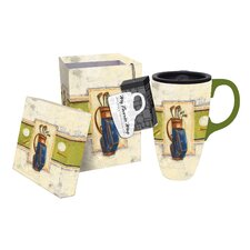 Teeing Off Boxed Ceramic Travel Latte Cup
