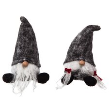 2 Piece Plush Short Santa Set (Set of 2)