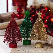 Glitter and Metal Festive Tree (Set of 3)