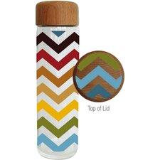 20 oz. Festive Chevron Glass Water Bottle W/Wood Lid