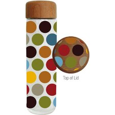 20 oz. Festive Polka Dot Glass Water Bottle with Wood Lid