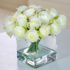 Rose Buds with Square Glass Vase