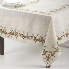 Embroidered Holly Rectangle Table Cloth