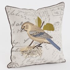 Embroidered and Printed Throw Pillow