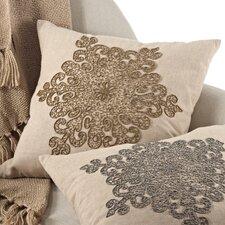 Snowflake Beaded Cotton Throw Pillow