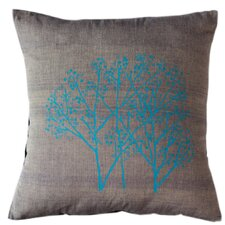 Forest Frost on Graphite Cotton Throw Pillow