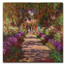 'A Pathway in Monet's Garden' by Claude Monet Painting Print on Canvas
