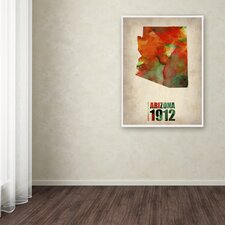 """""""Arizona Watercolor Map"""" by Naxart Painting Print on Wrapped Canvas"""