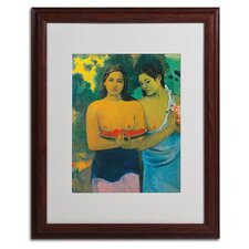 'Two Tahitian Women 1899' by Paul Gauguin Matted Framed Painting Print