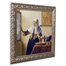 """""""Young Woman with a Water Jug"""" by Jan Vermeer Ornate Framed Art"""