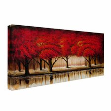 'Parade of Red Trees II' by Rio Painting Print on Wrapped Canvas
