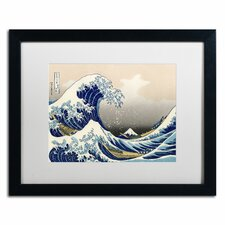 """The Great Kanagawa Wave"" by Katsushika Hokusai Matted Framed Painting Print"