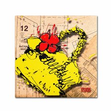 """Flower Purse Red on Yellow"" by Roderick Stevens Painting Print on Wrapped Canvas"