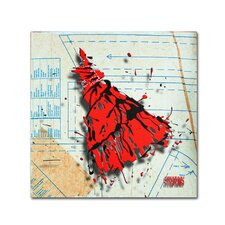 """""""Shoulder Dress Red and Black"""" by Roderick Stevens Painting Print on Wrapped Canvas"""