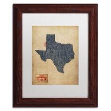'Texas Map Denim Jeans Style' by Michael Tompsett Framed Graphic Art