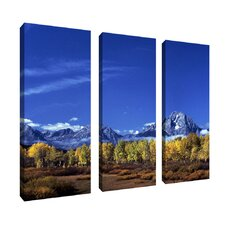 """Autumn Tetons"" by Kurt Shaffer Photographic Print 3 Panel Art Set"