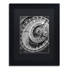 """""""Astronomic Watch Prague 11"""" by Moises Levy Framed Photographic Print in Black"""