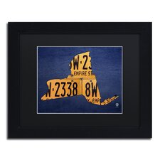 """""""New York License Plate Map"""" by Design Turnpike Framed Graphic Art"""