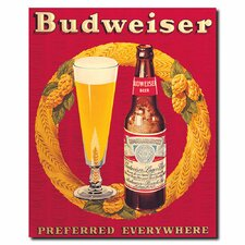 """""""Budweiser Prefered Everywhere"""" Vintage Advertisement on Wrapped Canvas"""