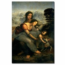 """""""Virgin and Child with St. Anne"""" by Leonardo Da Vinci Painting Print on Canvas"""
