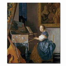 """""""A Young Lady Seated at the Virginal"""" by Jan Vermeer Painting Print on Wrapped Canvas"""