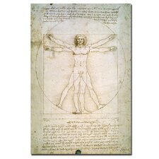 """""""The Proportions of the Human Figure"""" by Leonardo da Vinci Painting Print on Canvas"""