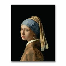 """""""Girl with a Pearl Earring"""" by Jan Vermeer Painting Print on Canvas"""