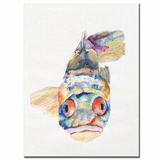 'Blue Fish' by Pat Saunders Painting Print on Canvas