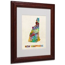 """New Hampshire Map"" by Michael Tompsett Framed Graphic Art"